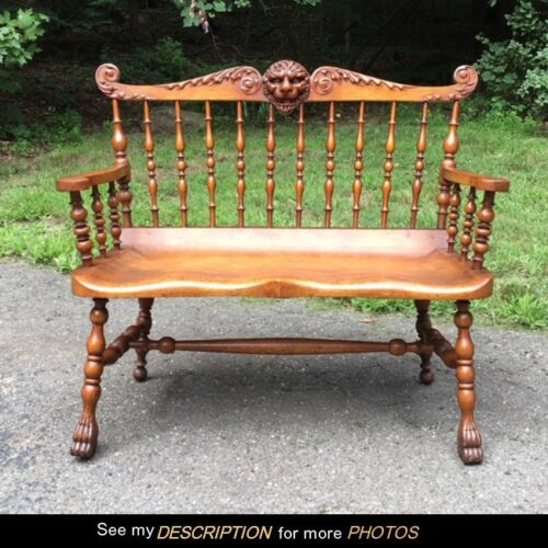 Antique Turn of the Century Quarter Sawn Oak LION Spindled BENCH Settee