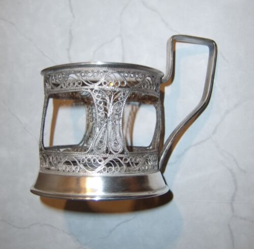 antique TEA GLASS HOLDER silverplate filigree silver plated Russian style w/mark