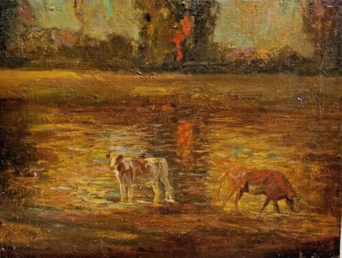 British Impressionist Cattle Landscape Painting Alfred Munnings and Seago Verso