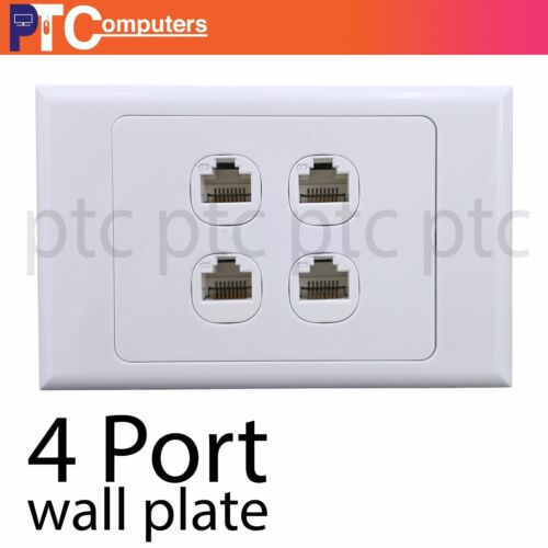 4 port/Gang RJ45 Ethernet Wall Plate Kit Punch Down Network Data wall socket