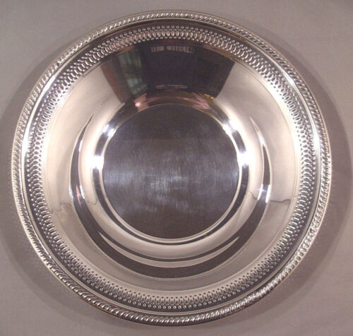 """Silver Plate Rogers 12"""" Round Bowl Scrolled & Reticulated Rim Excellent! REDUCED"""