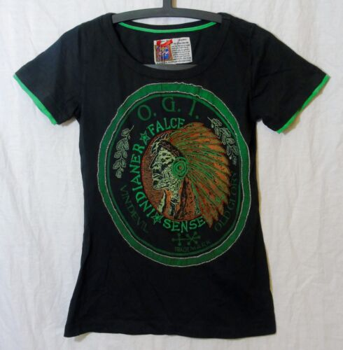 NEW! Womens Old Glory Charcoal Grey Native American Beaded T-Shirt Top Size 10