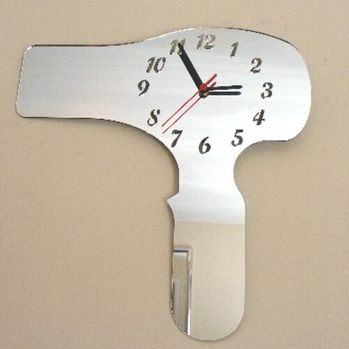 Hairdryer Clock - Acrylic Mirror (Several Sizes Available)