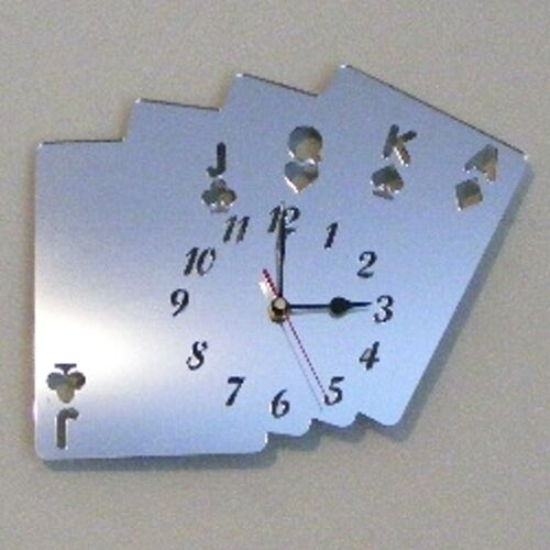 Poker Cards Clock - Acrylic Mirror (Several Sizes Available)