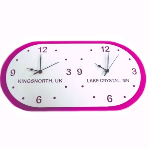 White & Pink Time Zone Clock - Acrylic Mirror (Several Sizes Available)
