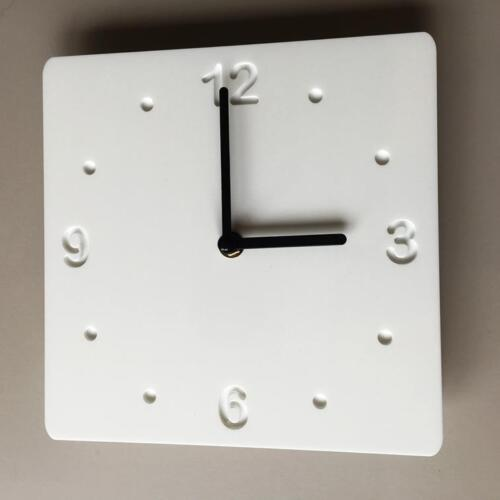 Square White Gloss & white Backed Clock with Black Hands Silent Sweep Movement