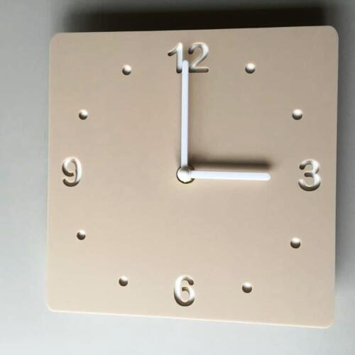 Square Latte Beige Mat & White Backed Clock White Hands Silent Sweep Movement