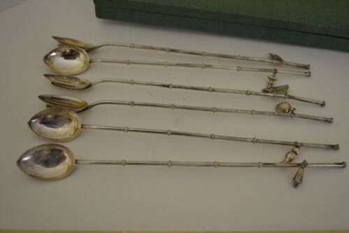 JAPAN 950 STERLING SILVER ICE TEA STRAWS W JAPANESE FIGURE CHARMS