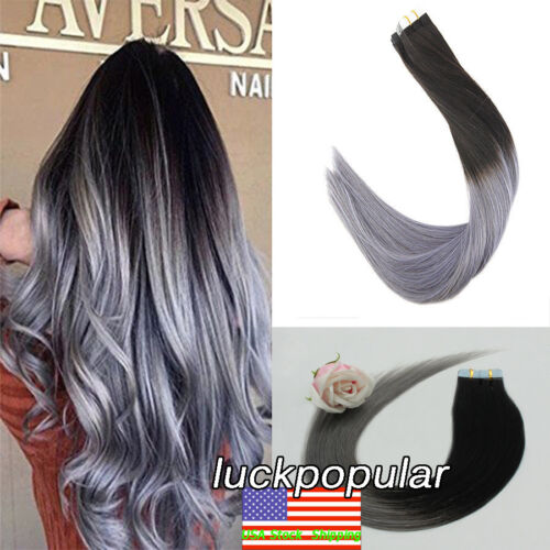 Tape in Remy Human Hair Extensions Skin Weft Straight Ombre Color Black to Gray