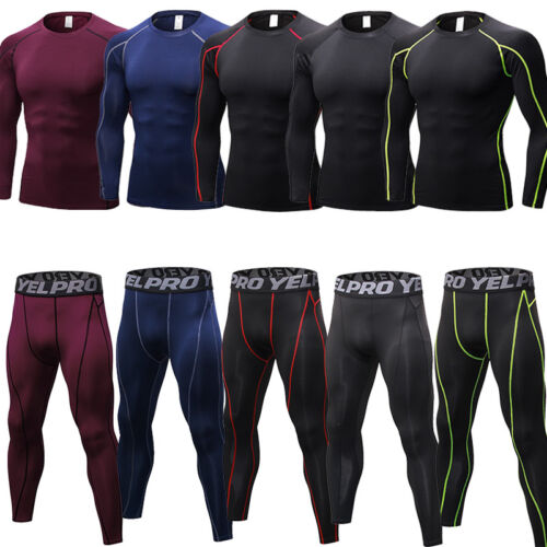 Men's Compression Tights Pants Shirt Athletic Skin Base Layers Wicking Cool Dry