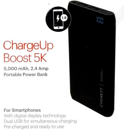 New CYGNETT PORTABLE POWER BANK chargeUp Boost 5k High Quality