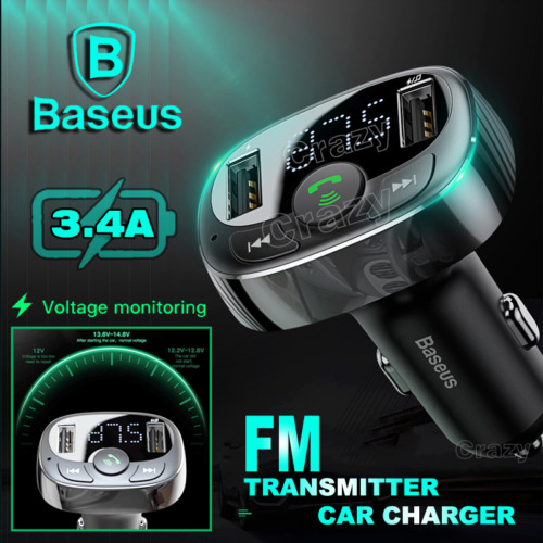 Baseus Handsfree Wireless Bluetooth 4.2 FM Transmitter Car Kit Dual USB Charger