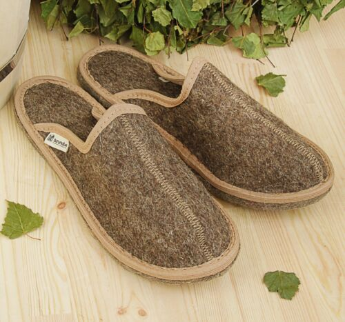 Men's Indoor Slippers 100% Sheep Wool (Felt) Warm & Cozy Closed Toe Home Shoes