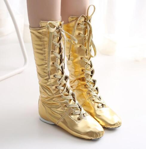 7e722d52ff80 Women s casual Lace Up PU Leather Ballet Dancing Flats Mid Calf Boots new