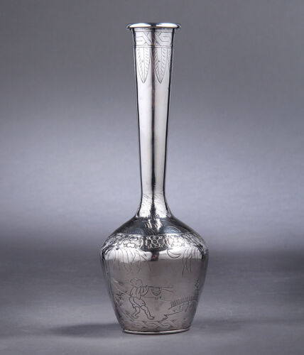 ANTIQUE CHINESE EXPORT STERLING SILVER VASE WITH FIGURE AND CALLIGRAPHY