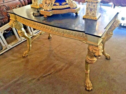 Empire Style Lions Head Desk Silver Leaf and Stone Top