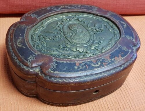 Art Nouveau Bronze Signé CASSONNET leather and wood box and bronze plaque vtg