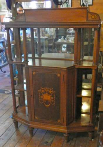 UNUSUAL 19TH CENT. INLAID CHERRY ETAGERE WITH MIRRORED BACKS, COLUMNS & STORAGE
