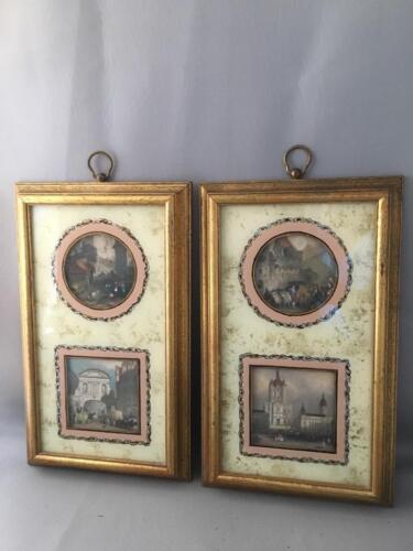 VTG SUNGOTT CITYSCAPE GOLD EGLOMISE HAND COLORED ENGRAVING PRINTS w GOLD FRAMES