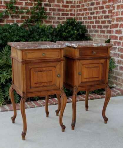 Antique French Oak PAIR Mahogany Marble Top Side Cabinets End Tables Nightstands