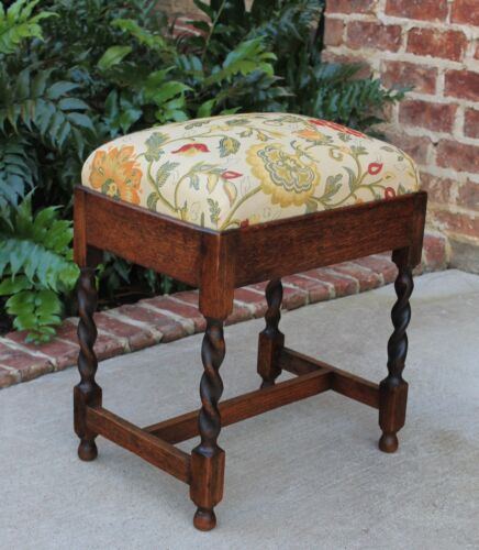 Antique English Oak Barley Twist Floral Upholstered Small Stool Bench Foot Stool