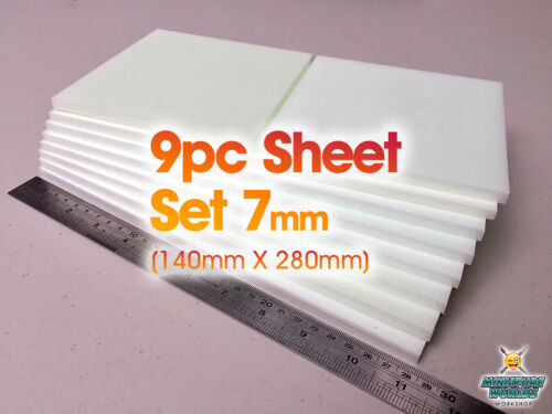 9 Pc XPS Hobby Foam Sheet Set 7mm (Suitable for wargaming roads or scenery)