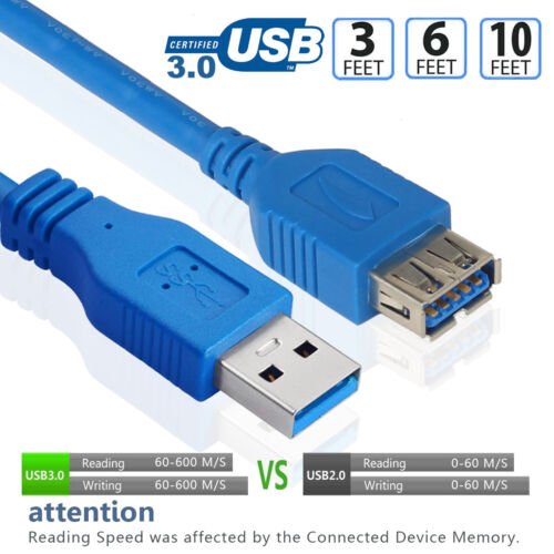 Super Speed USB 3.0 Type A Male to Female Extension Data Sync Extender Cable