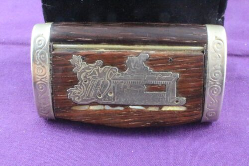 Antique Wooden and White Metal Snuff Box with Silver and Mother of Pearl Inlay