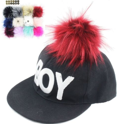 8f262cee424 Faux Fox Fur Pom Pom for Hat with Press Button Fake Fur Hat Bubble  Removable b15 Hats