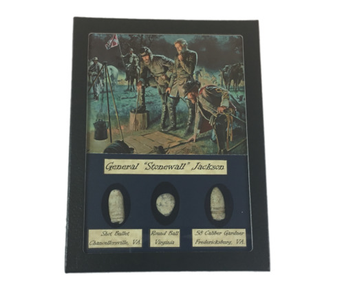General Stonewall Jackson Civil War Bullet Set with Glass Top Display CaseBullets - 103996