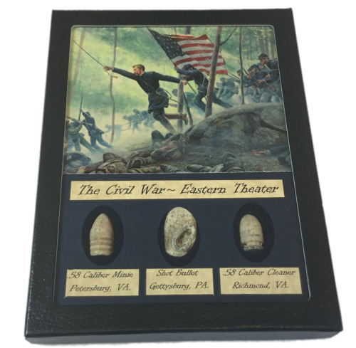 The Civil War Eastern Theater Bullet Set with Glass Top Display CaseBullets - 103996