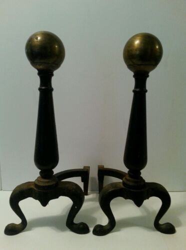 Vintage Cast Andirons Firedogs Cannon Ball Tops Fireplace Hearth