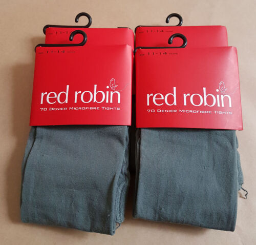 4 x Girls Red Robin 70 Denier Microfibre Tights Ages 4 - 11 Grey