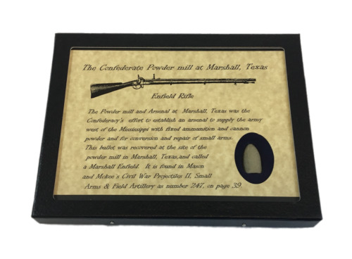 The Confederate Powder Mill at Marshall Texas Civil War Bullet with Display CaseBullets - 103996