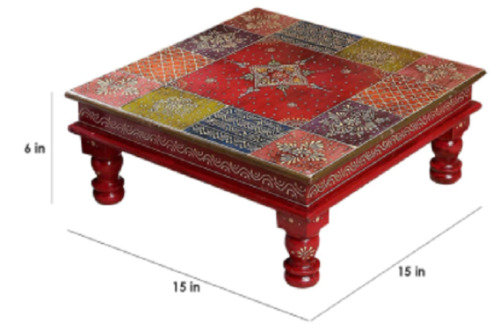 Multi color wooden hand crafted low seating table/bajot/stool/chowki furniture.