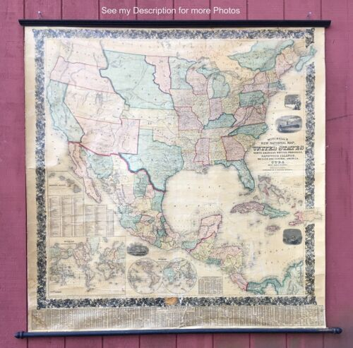 RARE 1858 Mitchells New National Wall Map of the United States and more 66 x 60