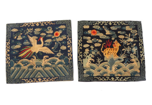 A PAIR ANTIQUE CHINESE MANDARIN RANK GOLD EMBROIDERY QING DYNASTY