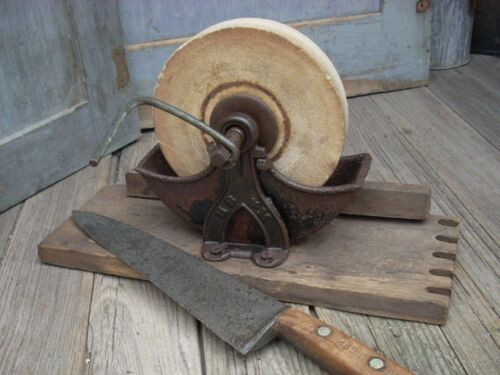 Antique Primitive Wet Stone Sharpening Grinding Wheel Farm Tool Cast Iron Wood