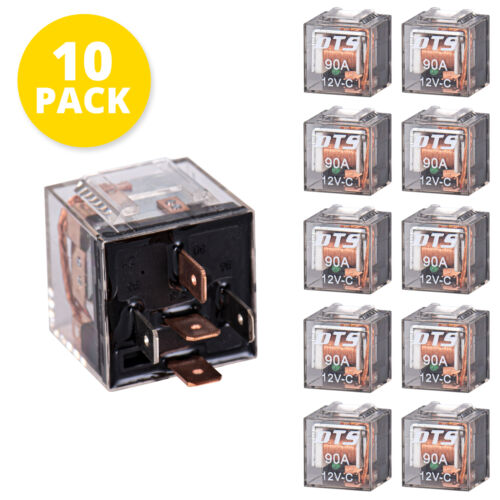 New Set of 10pcs Relay 5 Pin 12v 90 Amp (87a-87) WITH LED