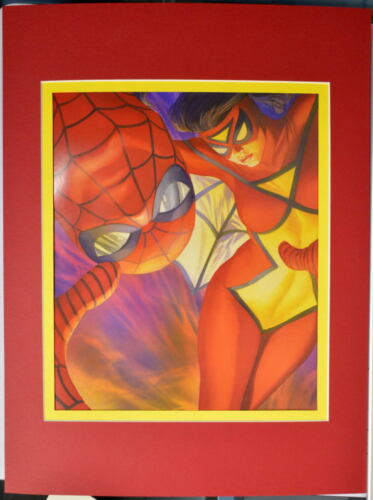 SPIDER-MAN & SPIDER-WOMAN PRINT PROFESSIONALLY MATTED Alex Ross art