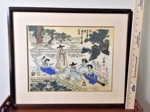 Antiques, Asian Paintings,  Water Color, Signed, Village Life, post-1940, China