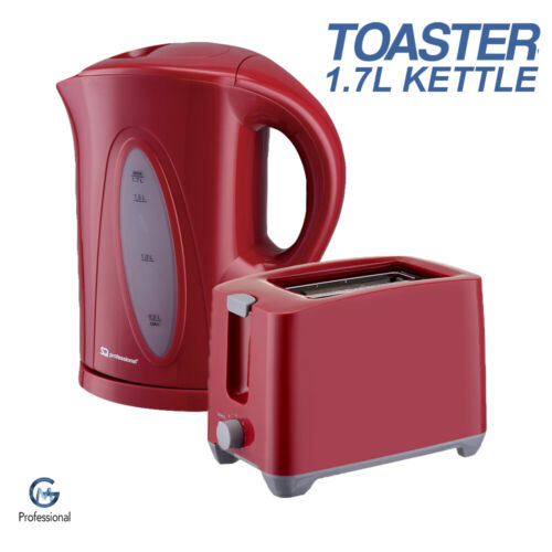RED 1.7 LITRE CORDLESS 2000W ELECTRIC JUG KETTLE /& 700W 2 SLICE TOASTER SET
