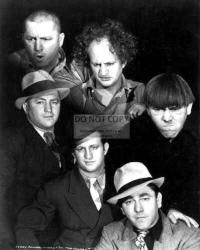 THE THREE STOOGES IN AND OUT OF CHARACTER - 8X10 PUBLICITY PHOTO (RT623)