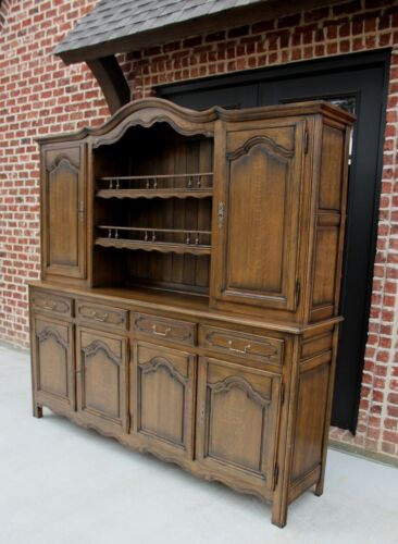 Vintage French Country Oak VAISSELIER Hutch Buffet Cabinet Sideboard Bookcase