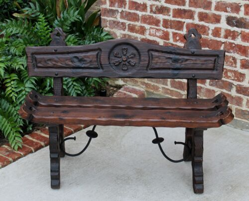 Vintage European Carved Pine Petite Settee Bench Chair Iron Stretcher