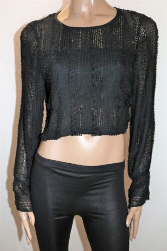 LUVALOT Brand Black Looped Knit Long Sleeve Cropped Top Size 12 BNWT #SK120