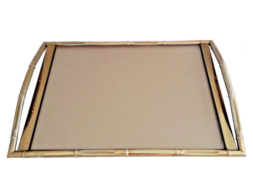 Mid Century Modern Brass & Glass Serving Tray Faux Bamboo Maison Bagues Style
