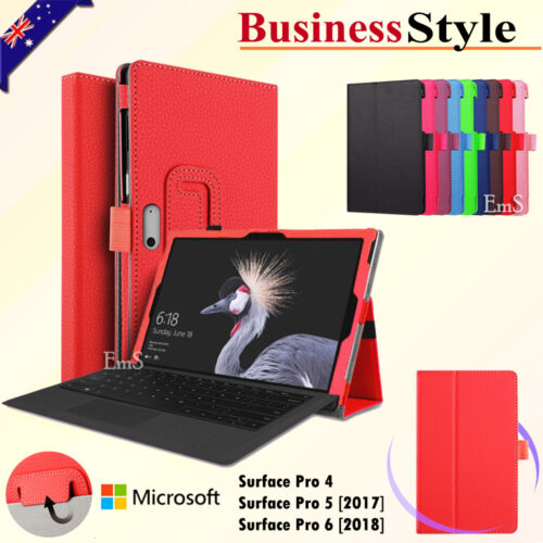 """Microsoft Surface Pro 4 5 6 12.3"""" Go 10"""" Premium Leather Flip Stand Case Cover"""