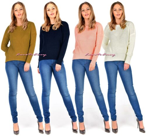 Ladies Crew Neck Jumper Casual Knitted Pullover Sweater Womens Tops Sizes uk6-20