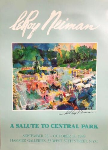 """LeRoy Neiman  """"A Salute to Central Park"""" Hand SIGNED ART Bethesda Fountain NYC"""